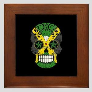 Jamaican Sugar Skull with Roses Framed Tile