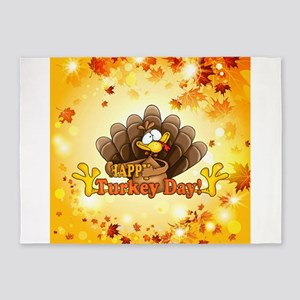 Happy Turkey Day 5'x7'Area Rug