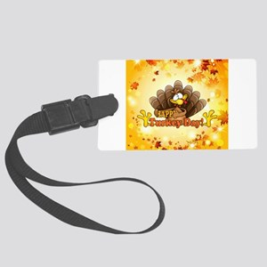 Happy Turkey Day Large Luggage Tag