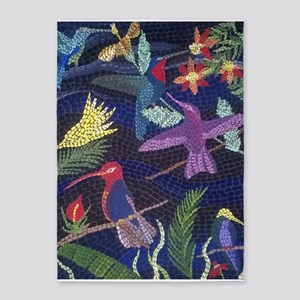 Hummingbird Mosaic Art 5'x7'Area Rug