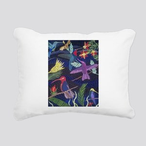 Hummingbird Mosaic Art Rectangular Canvas Pillow