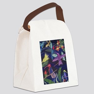 Hummingbird Mosaic Art Canvas Lunch Bag