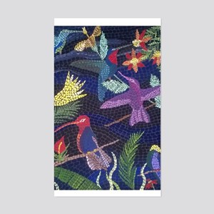 Hummingbird Mosaic Art Sticker (Rectangle)