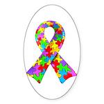 3D Puzzle Ribbon Oval Sticker