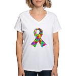 3D Puzzle Ribbon Women's V-Neck T-Shirt