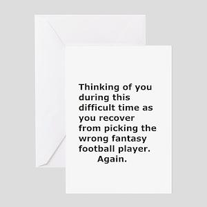 Joke Sympathy Fantasy Football Fans Greeting Cards