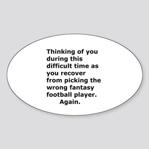 Joke Sympathy Fantasy Football Fans Sticker