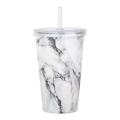 White Marble Acrylic Double-wall Tumbler