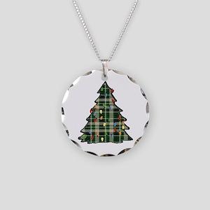 Plaid Christmas Tree Necklace Circle Charm