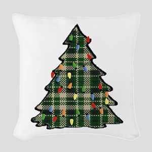 Plaid Christmas Tree Woven Throw Pillow