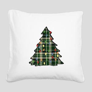 Plaid Christmas Tree Square Canvas Pillow