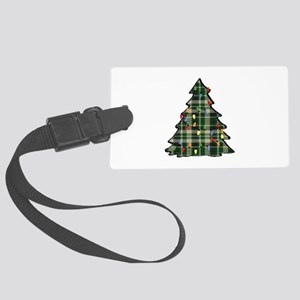 Plaid Christmas Tree Large Luggage Tag