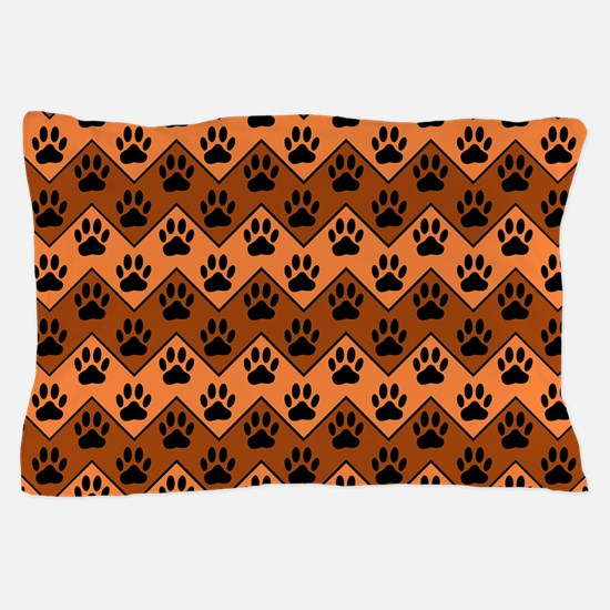 Orange And Brown Chevron With Dog Paws Pillow Case