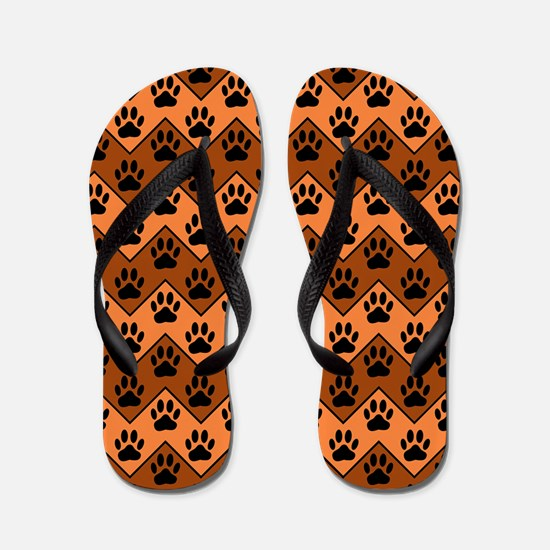 Orange And Brown Chevron With Dog Paws Flip Flops