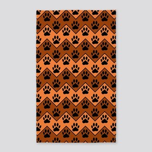 Orange And Brown Chevron With Dog Paws Pa Area Rug