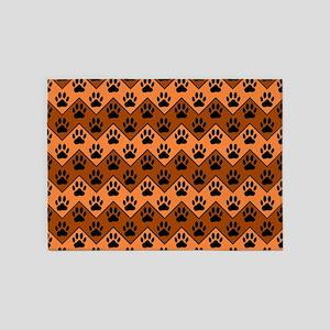 Orange And Brown Chevron With Dog P 5'x7'Area Rug