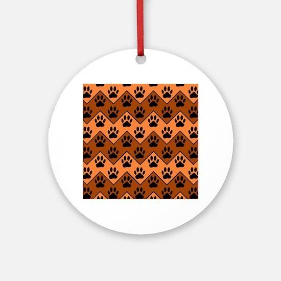 Orange And Brown Chevron With Dog P Round Ornament