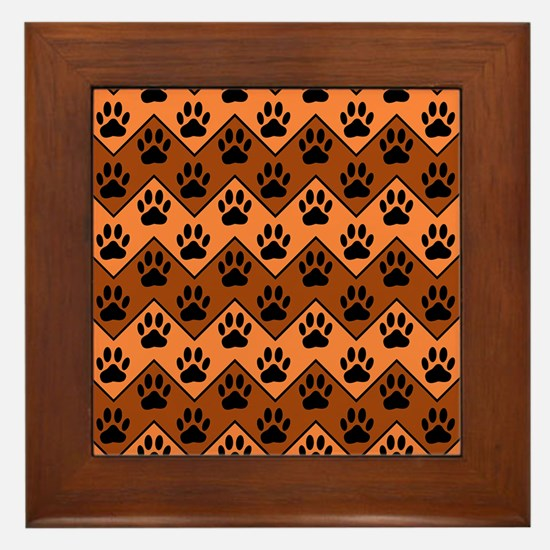 Orange And Brown Chevron With Dog Paws Framed Tile