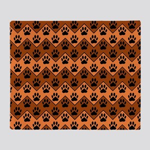 Orange And Brown Chevron With Dog Pa Throw Blanket