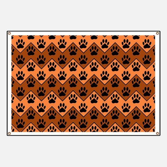 Orange And Brown Chevron With Dog Paws Patt Banner
