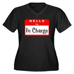 Hello I'm In Charge Women's Plus Size V-Neck Dark