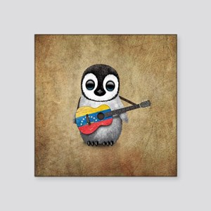 Baby Penguin Playing Venezuelan Flag Guitar Sticke