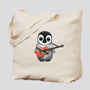 Baby Penguin Playing Trinidadian Flag Guitar Tote