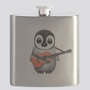 Baby Penguin Playing Trinidadian Flag Guitar Flask
