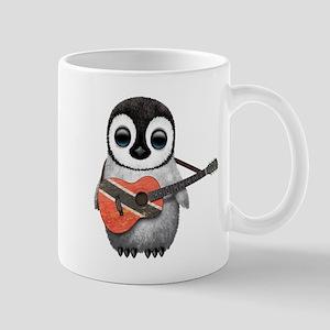 Baby Penguin Playing Trinidadian Flag Guitar Mugs