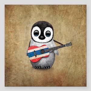 Baby Penguin Playing Thai Flag Guitar Square Car M