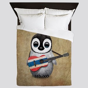 Baby Penguin Playing Thai Flag Guitar Queen Duvet