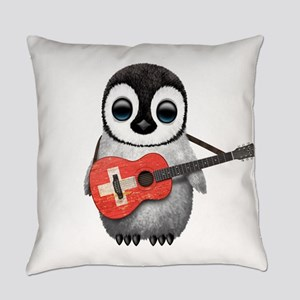 Baby Penguin Playing Swiss Flag Guitar Everyday Pi