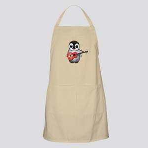 Baby Penguin Playing Swiss Flag Guitar Apron