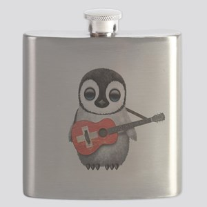 Baby Penguin Playing Swiss Flag Guitar Flask