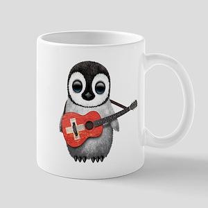 Baby Penguin Playing Swiss Flag Guitar Mugs