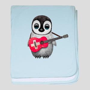 Baby Penguin Playing Swiss Flag Guitar baby blanke