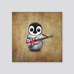 Baby Penguin Playing British Flag Guitar Sticker