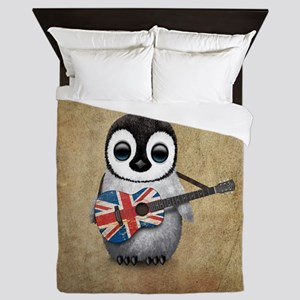 Baby Penguin Playing British Flag Guitar Queen Duv