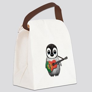 Baby Penguin Playing Portuguese Flag Guitar Canvas