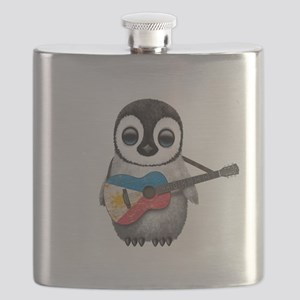 Baby Penguin Playing Filipino Flag Guitar Flask