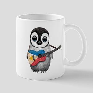 Baby Penguin Playing Filipino Flag Guitar Mugs