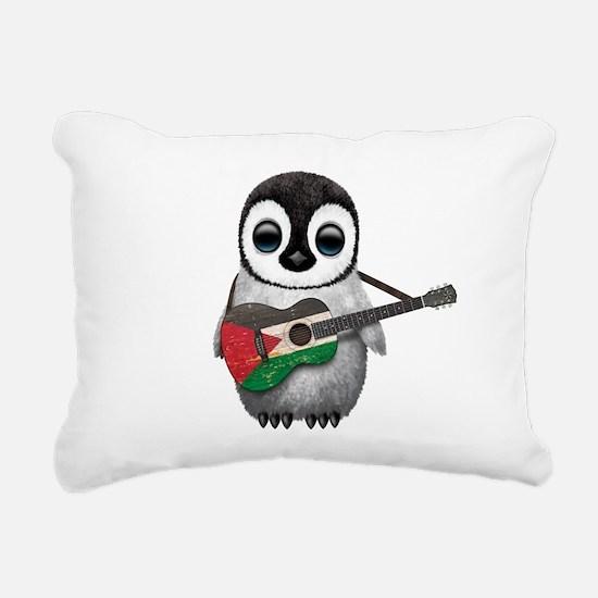 Baby Penguin Playing Palestinian Flag Guitar Recta