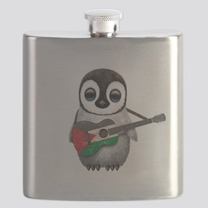 Baby Penguin Playing Palestinian Flag Guitar Flask