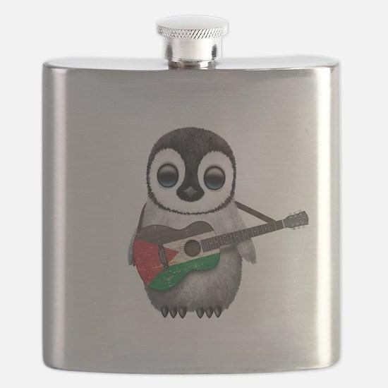 Baby Penguin Playing Palestinian Flag Guitar Flask