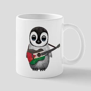 Baby Penguin Playing Palestinian Flag Guitar Mugs