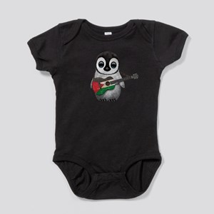 Baby Penguin Playing Palestinian Flag Guitar Baby
