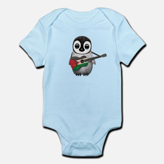 Baby Penguin Playing Palestinian Flag Guitar Body