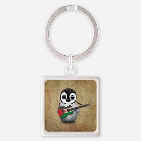 Baby Penguin Playing Palestinian Flag Guitar Keych