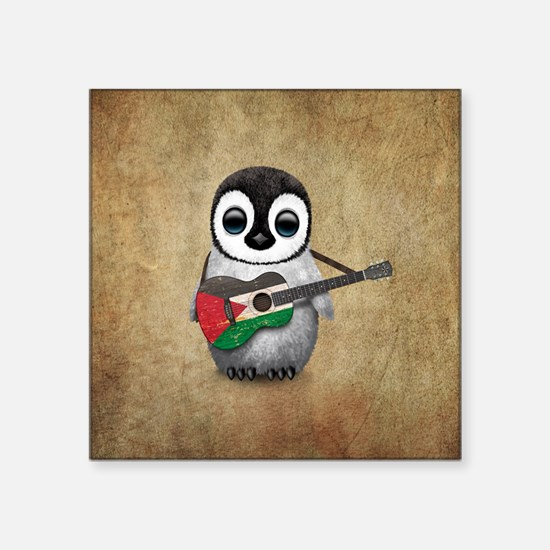 Baby Penguin Playing Palestinian Flag Guitar Stick