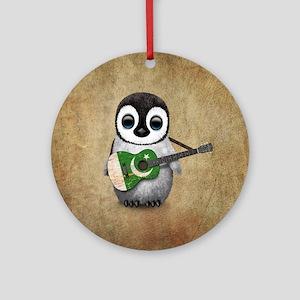 Baby Penguin Playing Pakistani Flag Guitar Round O